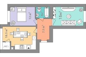 ЖК Евромісто: планировка 2-комнатной квартиры 58.5 м²