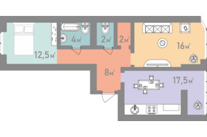 ЖК Евромісто: планировка 2-комнатной квартиры 62 м²
