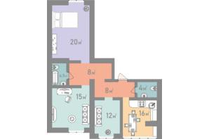 ЖК Евромісто: планировка 3-комнатной квартиры 87.5 м²