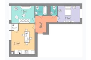 ЖК Евромісто: планировка 2-комнатной квартиры 62.5 м²