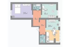ЖК Евромісто: планировка 3-комнатной квартиры 86 м²