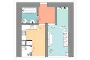 ЖК Евромісто: планировка 1-комнатной квартиры 48 м²