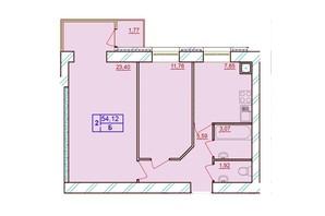 ЖК Европейский Двор: планировка 2-комнатной квартиры 54.12 м²