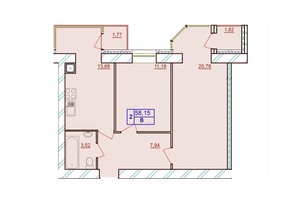 ЖК Европейский Двор: планировка 2-комнатной квартиры 58.15 м²