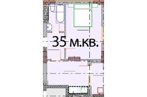 ЖК Европейский Квартал: планировка 1-комнатной квартиры 35 м²
