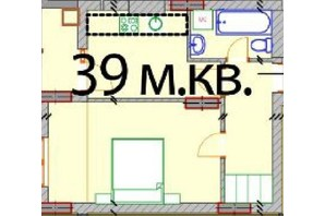 ЖК Европейский Квартал: планировка 1-комнатной квартиры 39 м²