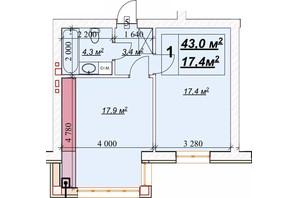 ЖК Европейский: планировка 1-комнатной квартиры 43 м²