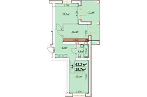 ЖК Европейский: планировка 2-комнатной квартиры 62.3 м²