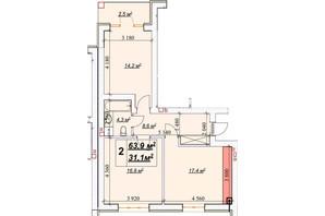 ЖК Европейский: планировка 2-комнатной квартиры 63.9 м²