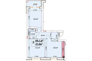 ЖК Европейский: планировка 2-комнатной квартиры 64.1 м²
