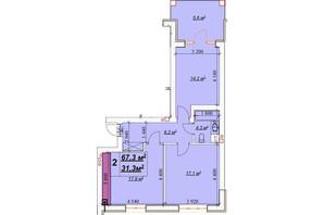 ЖК Европейский: планировка 2-комнатной квартиры 67.3 м²