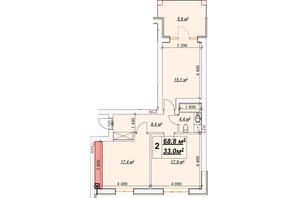 ЖК Европейский: планировка 2-комнатной квартиры 68.8 м²