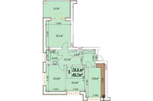 ЖК Европейский: планировка 3-комнатной квартиры 78.9 м²