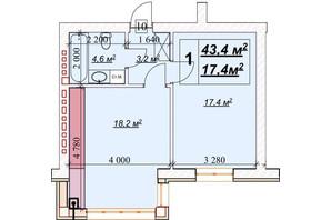 ЖК Европейский: планировка 1-комнатной квартиры 43.4 м²