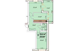 ЖК Европейский: планировка 2-комнатной квартиры 62 м²