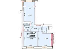 ЖК Европейский: планировка 2-комнатной квартиры 66.8 м²