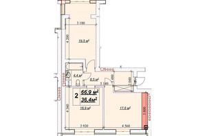 ЖК Европейский: планировка 2-комнатной квартиры 66.9 м²
