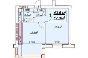 ЖК Европейский: планировка 1-комнатной квартиры 43.5 м²