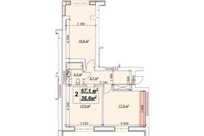 ЖК Европейский: планировка 2-комнатной квартиры 67.1 м²