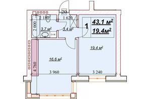 ЖК Европейский: планировка 1-комнатной квартиры 43.1 м²
