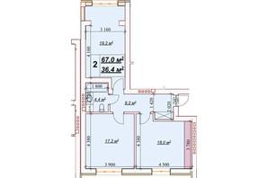 ЖК Европейский: планировка 2-комнатной квартиры 67 м²