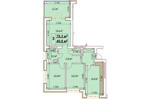 ЖК Европейский: планировка 3-комнатной квартиры 79.3 м²