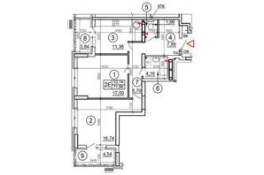 ЖК Эврика: планировка 2-комнатной квартиры 71.98 м²