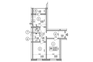 ЖК Эврика: планировка 2-комнатной квартиры 66.64 м²