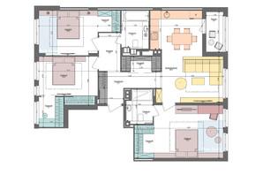 ЖК Файна Таун: планировка 3-комнатной квартиры 105.6 м²