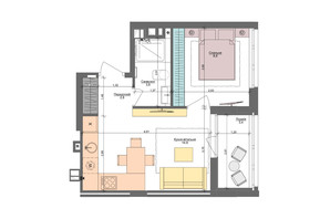 ЖК Файна Таун: планування 1-кімнатної квартири 33.5 м²
