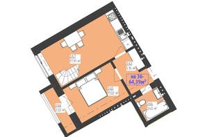 ЖК Familiya: планування 2-кімнатної квартири 64.39 м²