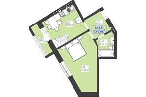 ЖК Familiya: планування 2-кімнатної квартири 65.05 м²