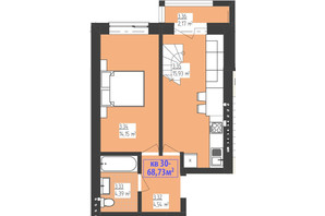 ЖК Familiya: планування 3-кімнатної квартири 68.73 м²