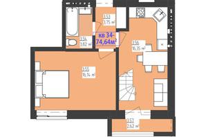 ЖК Familiya: планування 2-кімнатної квартири 74.64 м²