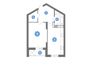 ЖК Family & Friends: планировка 1-комнатной квартиры 53.82 м²