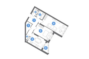 ЖК Family & Friends: планування 2-кімнатної квартири 68.52 м²