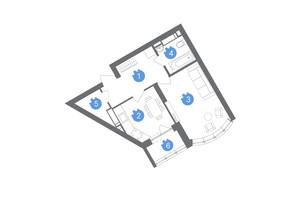ЖК Family & Friends: планування 1-кімнатної квартири 39.25 м²