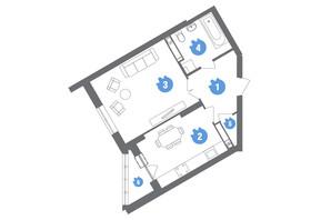 ЖК Family & Friends: планування 1-кімнатної квартири 46.56 м²