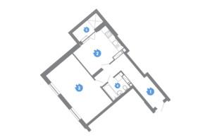 ЖК Family & Friends: планування 1-кімнатної квартири 55.07 м²