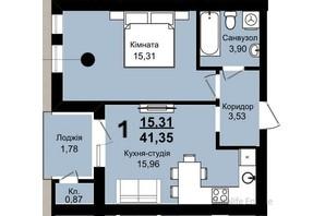 ЖК Family Residence: планировка 1-комнатной квартиры 41.35 м²