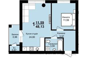 ЖК Family Residence: планировка 1-комнатной квартиры 48.13 м²