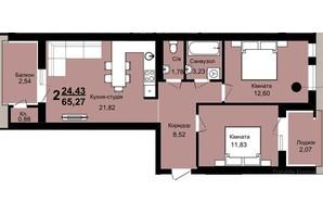 ЖК Family Residence: планировка 1-комнатной квартиры 65.27 м²