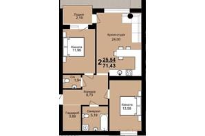 ЖК Family Residence: планировка 1-комнатной квартиры 71.43 м²