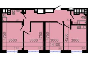 ЖК Фаворит: планировка 3-комнатной квартиры 90.94 м²