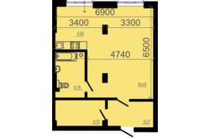 ЖК Фаворит: планування 2-кімнатної квартири 57.48 м²