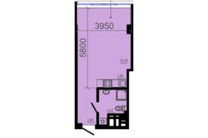 ЖК Фаворит: планування 1-кімнатної квартири 31.2 м²