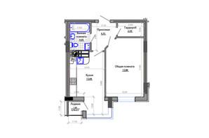 ЖК Фаворит: планировка 1-комнатной квартиры 46 м²