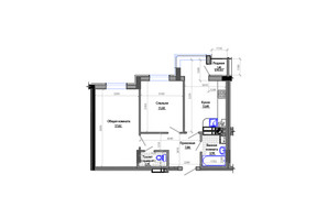 ЖК Фаворит: планировка 2-комнатной квартиры 56 м²