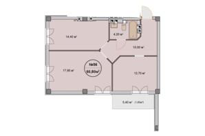 ЖК Фелічіта: планування 2-кімнатної квартири 60.8 м²