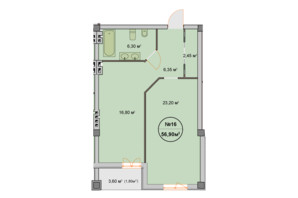 ЖК Феличита: планировка 1-комнатной квартиры 56.9 м²